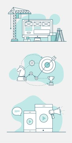 Mint graphics and icons for webdesign. Simple and flat design, icons for websites