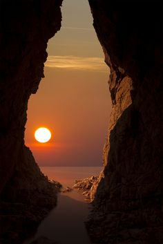Sunset Cave in Wales, England UK