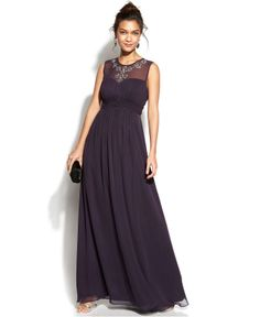 Calvin Klein Sleeveless Embellished Illusion Gown - Juniors Prom Dresses - Macy's