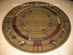 5 Round William Morris Arts Crafts Mission Style Lodge Olive Green Area Rug | eBay