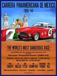 "Movie poster for Carrera Panamericana de Mexico, ""The Worlds Most Dangerous Race"""