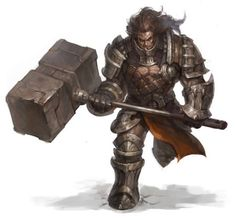 Hammer two-handed large dreadnought barbarian heavy armor knight fighter warrior