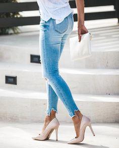 High + Mighty Distressed High Rise Skinny – VICI Latest Jeans, Racerback Tank, Stiletto Heels, Skinny, Denim, Cotton, Fashion, Womens Fashion, Moda