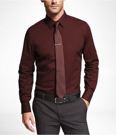 85863d62685 Express Mens Modern Fit 1Mx French Cuff Shirt Russian Ruby
