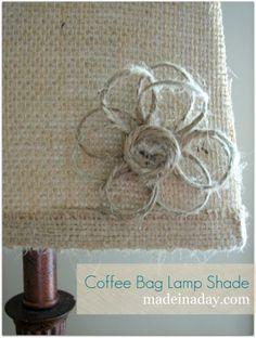 Twine button flower.  DIY Burlap Lamp Shade