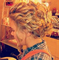 this could be a possibility... just curl all of your hair and pin back choice pieces.... Maddie, could you do this??? haha