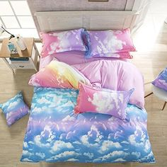 Ttmall Twin Full Size 4-pieces Cotton&microfiber Rainbow Cloud for Girls Prints Duvet Cover Set/bed Linens/bedding Sets/bed Sets (Full, 4pcs Without Comforter)