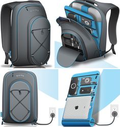 This could come in handy! Backpack for charging multiple devices at once.