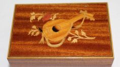Music Box Italy Marquetry Inlaid Wooden Lute Vintage Sankyo Japan Movement