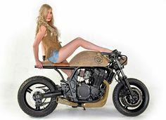 Suzuki GSF 1200 Bandit café racer with Czech girl Garage Cafe, Café Racers, Transportation