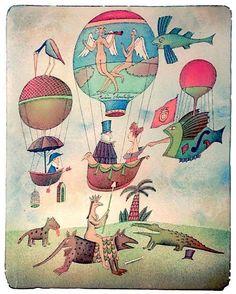 Přivítání vzduchoplavců © Adolf BORN, ArtForum / ICZ a.s. http://www.gallery.cz/gallery/cz/adolf-born-vystava.html