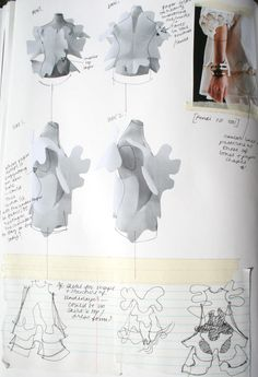 Fashion Sketchbook - fashion design process, dress structure development - fashion sketches; fashion portfolio // Connie Blackaller