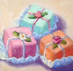 """Three Petit Fours by Pat Doherty Oil ~ 4"""" x 4"""""""