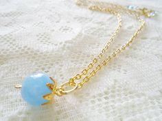 Blue Topaz gold plated necklace Gemstone pendant necklace