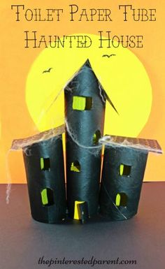 Paper towel roll and toilet paper tube haunted house craft. Cardboard tubes arts & crafts - spooky Halloween project for kids. (Cheap Halloween Crafts)