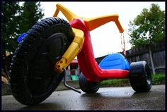 A Big Wheel is a type of tricycle, usually made of plastic, with an oversized front wheel, that rides very low to the ground. Introduced by Louis Marx and Company in 1969, the Big Wheel was a very popular toy in the 1970s in the United States, partly because of its low cost and partly because consumer groups said it was a safer alternative to the traditional tricycle or bicycle.