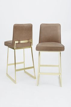 Elysian Barstool | Leather + Brass