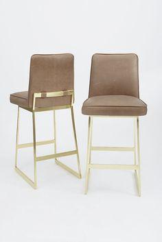 Elysian Barstool | Leather + Brass