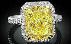 Yellow diamonds are the most gorgeous of all. Yellow diamonds come in two varieties- the light colored and the darker ones and are found rarely in diamond mines. As your engagement is Canary Yellow Diamonds, Canary Diamond, Colored Diamonds, Pink Diamonds, Sapphire Diamond, Yellow Diamond Engagement Ring, Yellow Diamond Rings, Diamond Cuts, Halo Engagement