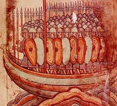 Attaque de vikings, miniature dans la vie de Saint-Aubin d'Angers, BNF