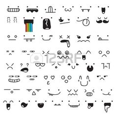 Set of 50 different pieces of doddle emotions to create characters Emotions for design Anime Anger a Stock Vector