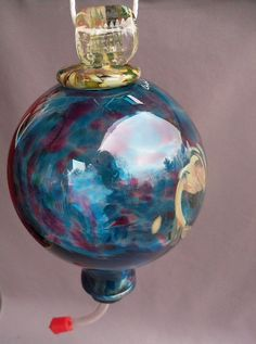 Hand Blown Art Glass Hummingbird Feeder by Route4glass on Etsy, $40.00
