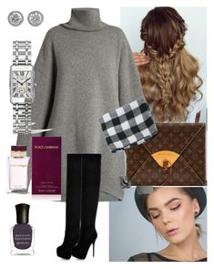 P807  Dress  Sweater  Grey   Boots  Thigh high  Black   Half up  Braid  Curly  Clutch  Brown   Scarf  White  Black   Nude eye  Pink lip  Ring  Silver   Nail  Purple   Watch  Silver   Earrings  Stud   Silver  Rhinestone  ⚜️ by emramisa-1 on Polyvore featuring polyvore, fashion, style, Raey, WithChic, Louis Vuitton, Longines, Bavna, Dolce&Gabbana, Deborah Lippmann and clothing