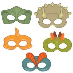 Dinosaurs Digital Printable Party Masks