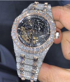 ": ""Iced out Audemars Piguet Royal Oak Skeleton Stylish Watches, Luxury Watches For Men, Diamond Watches For Men, Audemars Piguet, Gold Chains For Men, Expensive Jewelry, Patek Philippe, Beautiful Watches, Luxury Jewelry"