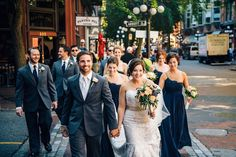 Quite possibly our favorite city wedding - glam bride with navy and peach accents. Wedding Sets, Elegant Wedding, Perfect Wedding, Navy Blue Bridesmaid Dresses, Alternative Wedding, Walks, Real Weddings, Wedding Stuff, Photo Ideas