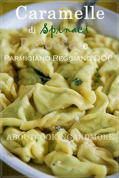 """""""Caramelle con Spinaci, Ricotta Crudo di Parma e Parmigiano Reggiano DOP"""", la ricetta del blog """"Gnam Gnam ... mamma che buono!"""" http://aboutcookingandmore.blogspot.it/2014/07/caramelle-con-spinaci-ricotta-crudo-di.html"""