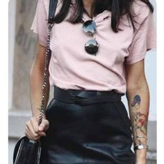 Blush t shirt Light weight blush t shirt with Semi high low effect. Kinda see through so I would wear a cute Bralette under! First pic is similar style inspiration. Marked top shop for views. NWOT Topshop Tops Tees - Short Sleeve