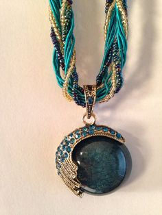 Pendant necklace BOHEMIAN adjustable teal blue gold great gift idea STATEMENT necklace BOHO on Etsy, $10.00