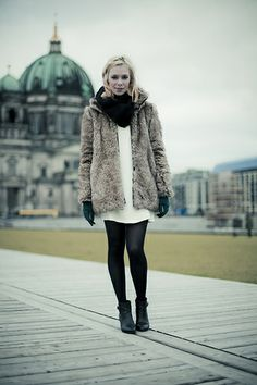 everything I love right now... fur, pantyhose, ankle boots, slouchy dress