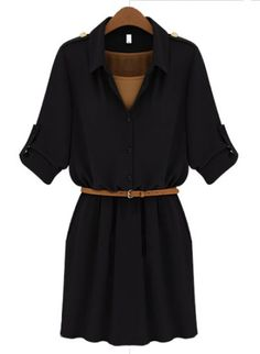 Black Lapel Belt Bandeau Chiffon Dress