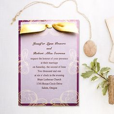 vintage gold and  plum ribbon layered wedding cards