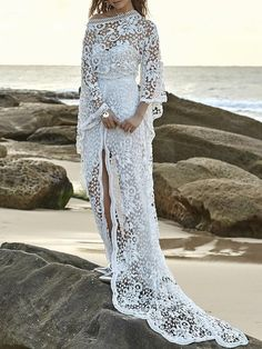 Romantic White Two-pieces Lace Flared-sleeves Evening Dress - Wedding Gowns Platform Wedding Dresses 2018, Bohemian Wedding Dresses, Bridal Dresses, Maxi Dresses, Dress Wedding, Lace Wedding, Boho Vintage, Evening Dresses With Sleeves, Designer Wedding Gowns