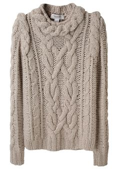 pringle of scotland / rope cable sweater--great stand-up shoulder detail and frame around the neck!