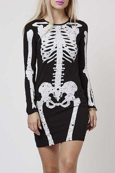 skeleton dress| $15.54  nu goth pastel goth punk creepy cute goth fachin skeleton top dress bones under20 under30 sammydress