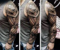 Incredible 3d Maori Male Tattoo Full Sleeve