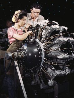 "Rare color photos: 1940s working women    Oct. 1942    Women are trained as engine mechanics in thorough Douglas training methods, Douglas Aircraft Company, Long Beach, Calif.    Caption information from ""The Library of Congress"" on Flickr"