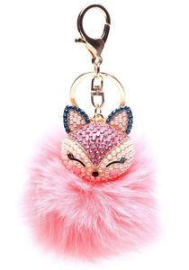 Fox Fur PomPoms KeyChain Bag Fluffy Big fur Ball Charm Pendant Pearl Pink
