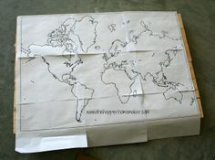 This has a great link to a site that prints maps DIY Wooden World Map Art | The Happier Homemaker