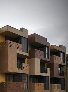 Gallery of Tetris Apartments / OFIS arhitekti - 7 Facade Architecture, Residential Architecture, Amazing Architecture, Contemporary Architecture, Futuristic Architecture, Building Facade, Building Design, Facade Design, Exterior Design