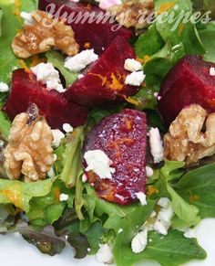 Roasted Beet Salad with Goat Cheese, Candied Walnuts & Citrus Vinaigrette « Cook with Jennifer Healthy Salads, Healthy Eating, Healthy Recipes, Yummy Recipes, Locarb Recipes, Bariatric Recipes, Quick Recipes, Diabetic Recipes, Salad Bar