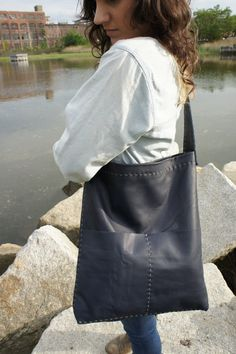 Navy Leather Bag - Ultra Soft - Hand Stitched. $250.00, via Etsy.