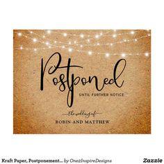 Kraft Paper, Postponement Wedding Announcement Postcard Announcement Cards, Wedding Announcements, Wedding Envelopes, Wedding Invitations, Wedding Day Cards, Wedding Humor, Kraft Paper, Postcard Size, Prints