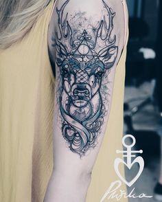 Harry potter patronus tattoo by Pliszka – Tattoo Styles & Tattoo Placement Diy Tattoo, Stag Tattoo, Type Tattoo, Tattoo Fonts, Body Art Tattoos, Small Tattoos, Sleeve Tattoos, Cat Tattoos, Friend Tattoos