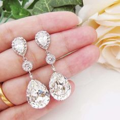 White and Gold Wedding Teardrop, Pear Crystal Rhinestone Earrings. Bridal Earrings. Swarovski Crystal and Cubic Zirconia #BridalEarrings