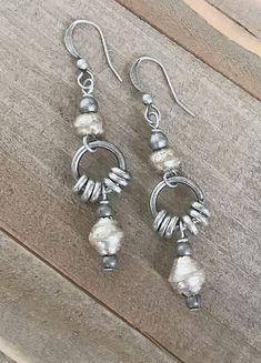Silver drop earrings ethnic earrings tribal jewelry silver